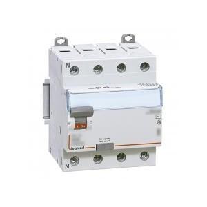 Interrupteur différentiel DX³-ID arrivée haute et départ bas à vis - 4P 400V~ 25A typeAC 300mA - 4 modules LEGRAND