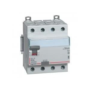 Interrupteur différentiel DX³-ID arrivée haute et départ bas à vis - 4P 400V~ 63A typeA 30mA - 4 modules LEGRAND