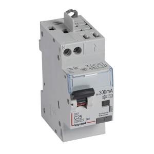 Disjoncteur différentiel DX³4500 arrivée haute vis et départ haut automatique U+N 230V~ - 25A typeAC 300mA - 2 modules LEGRAND