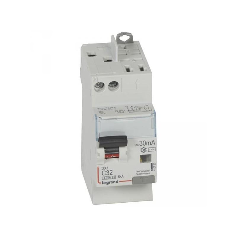 Disjoncteur différentiel U+N 230V~ - 32A typeAC 30mA - 2 modules - vis/auto - DX³4500 LEGRAND