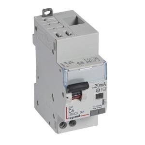 Disjoncteur différentiel DX³4500 arrivée haute automatique et départ bas à vis U+N 230V~ - 6A typeAC 30mA - 2 modules LEGRAND