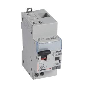 Disjoncteur différentiel DX³4500 arrivée haute automatique et départ bas à vis U+N 230V~ - 20A typeF 30mA - 2 modules LEGRAND