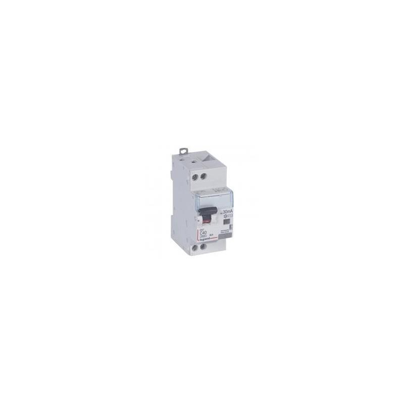 Disjoncteur différentiel U+N 230V~ - 40A typeAC 30mA - courbe C - 2 modules - vis/vis - DX³4500 LEGRAND