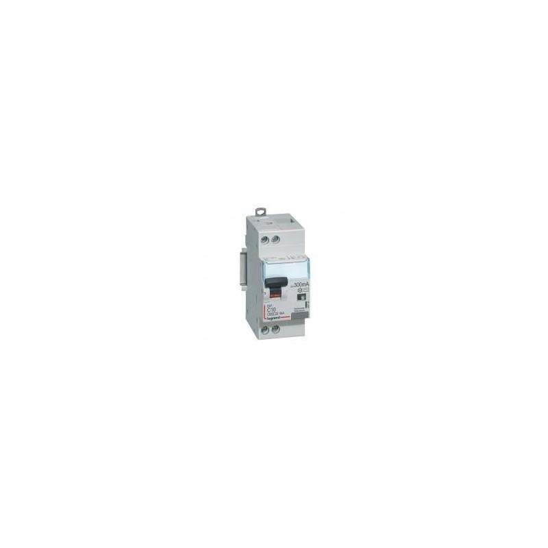 Disjoncteur différentiel U+N 230V~ - 10A typeAC 300mA - courbe C - 2 modules - Vis/vis - DX³4500 LEGRAND