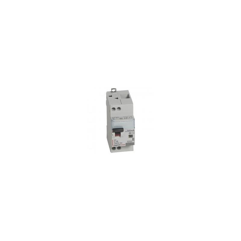 Disjoncteur différentiel U+N 230V~ - 16A typeAC 300mA - courbe C - 2 modules - vis/vis - DX³4500 LEGRAND