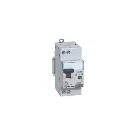 Disjoncteur différentiel DX³4500 arrivée haute et départ bas à vis U+N 230V~ - 10A typeF 30mA - courbe C - 2 modules LEGRAND
