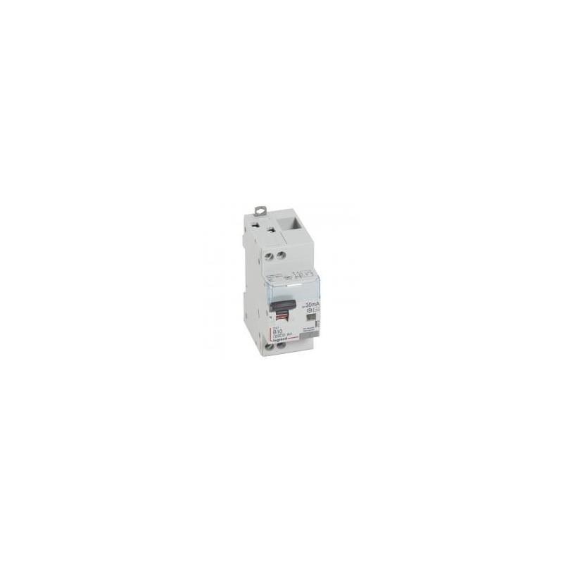 Disjoncteur différentiel DX³4500 arrivée haute et départ bas à vis U+N 230V~ - 10A typeAC 30mA - courbe B - 2 modules LEGRAND