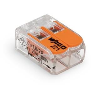 Mini borne WAGO pour 2 conducteurs, 4mm² avec levier de manipulation (Boite de 100 pièces) WAGO