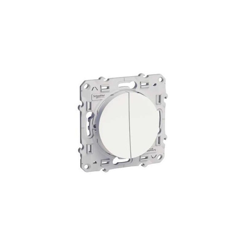 Double bouton poussoir 10A vis blanc - Odace SCHNEIDER
