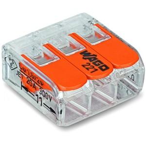 Bornes de raccordement WAGO 3 conducteurs, avec levier de manipulation (Boite de 50 pièces) WAGO