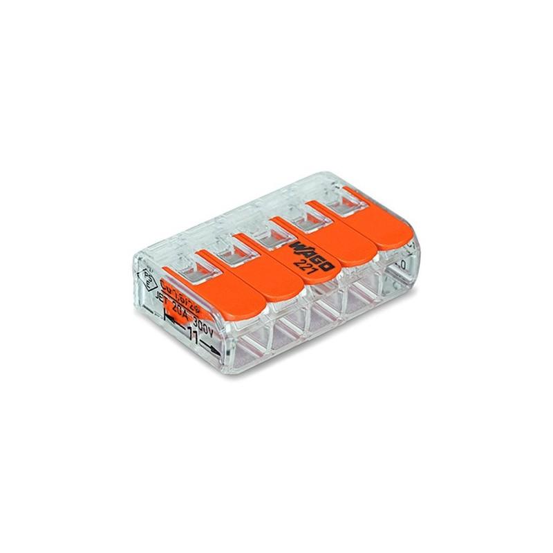 Mini borne WAGO pour 5 conducteurs, 4mm², avec levier de manipulation (Boite de 25 pièces) WAGO