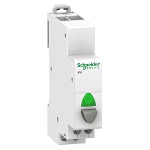 Acti9, iPB bouton-poussoir lumineux 1 NO gris + voyant vert 12...48VCA/VCC SCHNEIDER