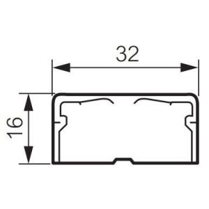 Moulure DLPlus 32x16mm 1 compartiment longueur 2,1m - blanc LEGRAND