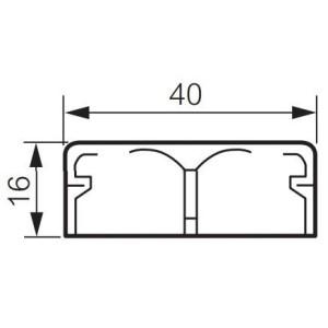 Moulure DLPlus 40x16mm 2 compartiments longueur 2,1m - blanc LEGRAND