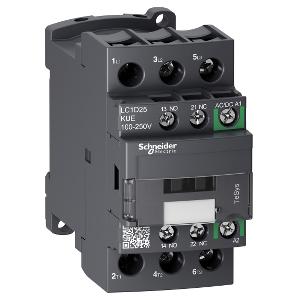 Contacteur - 3P(3 NO) - AC3 - 440V 25A - 100 à 250Vca-cc - TeSys LC1D25KUE SCHNEIDER