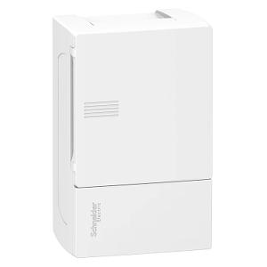 Mini coffret PRAGMA - 1x4 mod. - portillon opaque blanc - born. terre SCHNEIDER