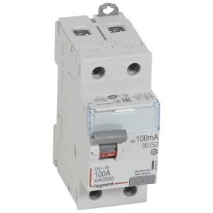 Interrupteur différentiel DX³-ID arrivée haute et départ bas à vis - 2P 230V~ 100A typeAC 100mA sélectif 2 modules LEGRAND