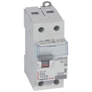 Interrupteur différentiel DX³-ID arrivée haute et départ bas à vis - 2P 230V~ 100A typeAC 300mA sélectif 2 modules LEGRAND