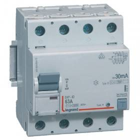 Interrupteur différentiel DX³-ID vis/vis - 4P 400V~ 63A type B 300mA - 4 modules LEGRAND